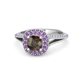 Cushion Smoky Quartz Sterling Silver Ring with Amethyst and Tanzanite