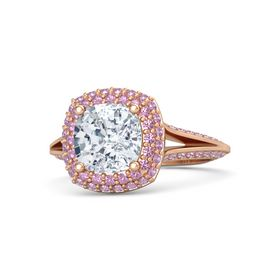 Cushion Diamond 14K Rose Gold Ring with Pink Tourmaline and Pink Sapphire