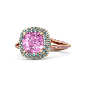 Cushion Pink Sapphire 14K Rose Gold Ring with London Blue Topaz and Pink Sapphire