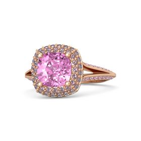Cushion Pink Sapphire 14K Rose Gold Ring with Rhodolite Garnet and Pink Sapphire