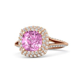 Cushion Pink Sapphire 14K Rose Gold Ring with White Sapphire and Aquamarine