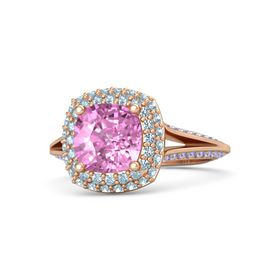 Cushion Pink Sapphire 14K Rose Gold Ring with Aquamarine and Iolite