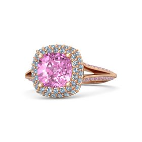 Cushion Pink Sapphire 14K Rose Gold Ring with Blue Topaz and Pink Tourmaline
