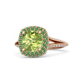 Cushion Peridot 14K Rose Gold Ring with Emerald and Diamond