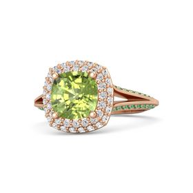 Cushion Peridot 14K Rose Gold Ring with White Sapphire and Emerald