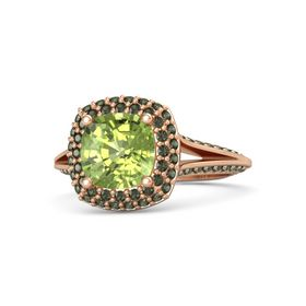 Cushion Peridot 14K Rose Gold Ring with Green Tourmaline