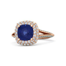 Cushion Sapphire 14K Rose Gold Ring with Diamond & London Blue Topaz