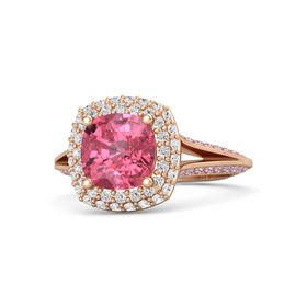 Cushion Pink Tourmaline 14K Rose Gold Ring with White Sapphire & Pink Sapphire