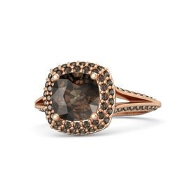 Cushion Smoky Quartz 14K Rose Gold Ring with Smoky Quartz
