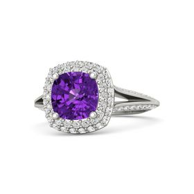Cushion Amethyst 14K White Gold Ring with White Sapphire