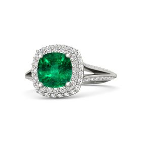 Cushion Emerald 14K White Gold Ring with White Sapphire