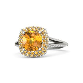 Cushion Citrine 14K White Gold Ring with Citrine and White Sapphire