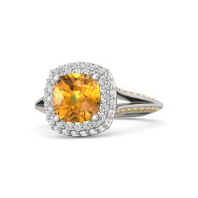 Cushion Citrine 14K White Gold Ring with White Sapphire and Citrine
