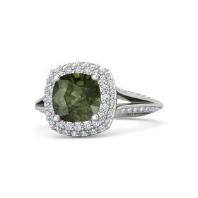 Cushion Green Tourmaline 14K White Gold Ring with Diamond