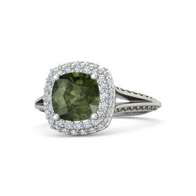 Cushion Green Tourmaline 14K White Gold Ring with Diamond & Green Tourmaline