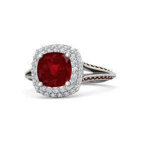Cushion Ruby 14K White Gold Ring with Diamond and Red Garnet