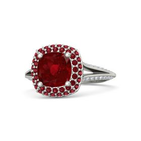 Cushion Ruby 14K White Gold Ring with Ruby and Diamond