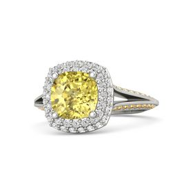 Cushion Yellow Sapphire 14K White Gold Ring with White Sapphire and Citrine