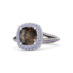Cushion Smoky Quartz 14K White Gold Ring with Tanzanite and Amethyst