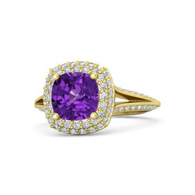 Cushion Amethyst 14K Yellow Gold Ring with Diamond