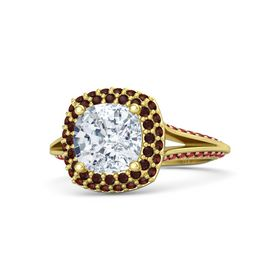 Cushion Diamond 14K Yellow Gold Ring with Red Garnet and Ruby
