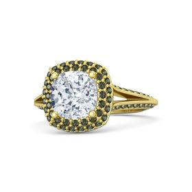 Cushion Diamond 14K Yellow Gold Ring with Green Tourmaline