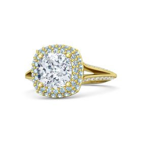 Cushion Diamond 14K Yellow Gold Ring with Aquamarine and White Sapphire
