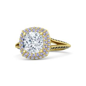 Cushion Diamond 14K Yellow Gold Ring with Tanzanite and Black Diamond