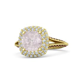 Cushion Rose Quartz 14K Yellow Gold Ring with Diamond and Red Garnet