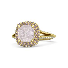 Cushion Rose Quartz 14K Yellow Gold Ring with Rhodolite Garnet and Diamond