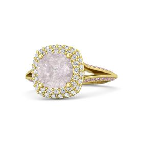 Cushion Rose Quartz 14K Yellow Gold Ring with White Sapphire & Pink Sapphire
