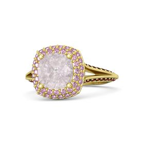 Cushion Rose Quartz 14K Yellow Gold Ring with Pink Sapphire and Red Garnet
