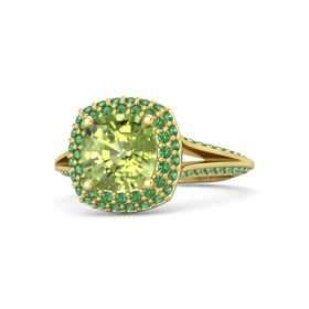 Cushion Peridot 14K Yellow Gold Ring with Emerald
