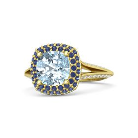 Cushion Aquamarine 14K Yellow Gold Ring with Sapphire & White Sapphire
