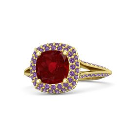 Cushion Ruby 14K Yellow Gold Ring with Amethyst
