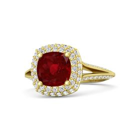 Cushion Ruby 14K Yellow Gold Ring with White Sapphire