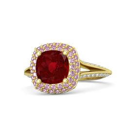 Cushion Ruby 14K Yellow Gold Ring with Pink Sapphire and Diamond