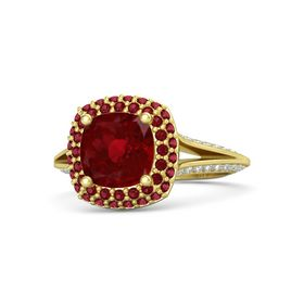 Cushion Ruby 14K Yellow Gold Ring with Ruby and Diamond