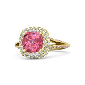 Cushion Pink Tourmaline 14K Yellow Gold Ring with Diamond and Pink Sapphire