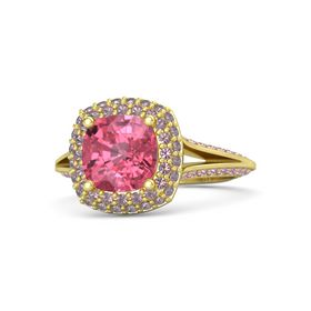 Cushion Pink Tourmaline 14K Yellow Gold Ring with Rhodolite Garnet & Pink Sapphire