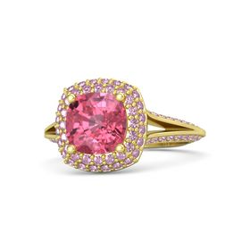 Cushion Pink Tourmaline 14K Yellow Gold Ring with Pink Sapphire