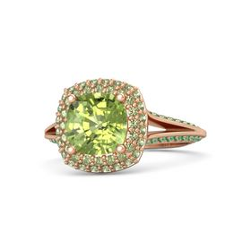 Cushion Peridot 18K Rose Gold Ring with Peridot and Emerald