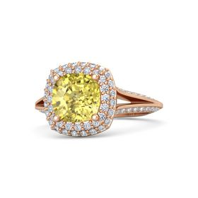 Cushion Yellow Sapphire 18K Rose Gold Ring with Diamond