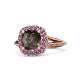 Cushion Smoky Quartz 18K Rose Gold Ring with Amethyst