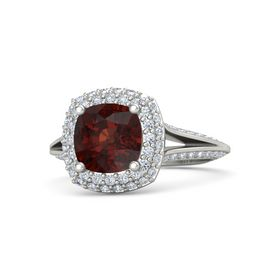 Cushion Red Garnet 18K White Gold Ring with Diamond