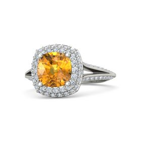 Cushion Citrine 18K White Gold Ring with Diamond