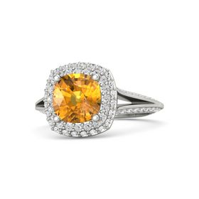Cushion Citrine 18K White Gold Ring with White Sapphire