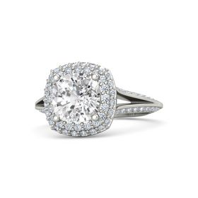 Cushion White Sapphire 18K White Gold Ring with Diamond