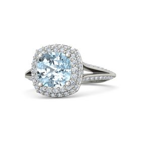 Cushion Aquamarine 18K White Gold Ring with Diamond