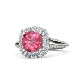 Cushion Pink Tourmaline 18K White Gold Ring with Diamond